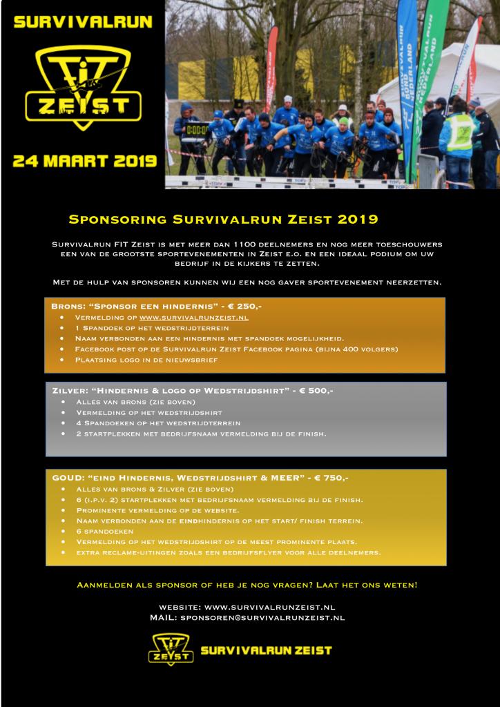 Sponsorpakketten survivalrun Zeist 2019